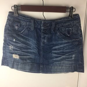 American Eagle Distressed Denim Mini Jean Skirt
